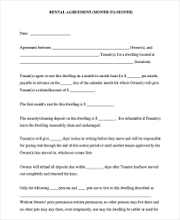 Month To Month Rental Agreement Template Month To Month Rental Agreement Template Business Form