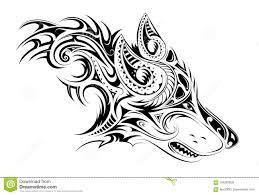 Tatuaggio Elegante Del Lupo Illustrazione Vettoriale Illustrazione