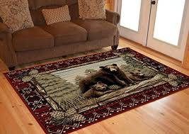 rug empire rustic lodge bear cubs area rug red b071r34sjv