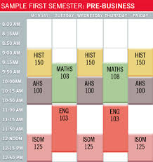 Sample College Class Schedule Prebusiness Ball State University