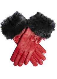 women s wool lined leather gloves with hearts and faux fur cuffs