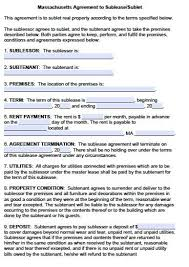 Sample Sublease Agreement Free Massachusetts Sublease Agreement Form Pdf Template