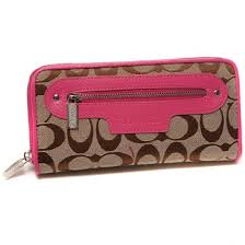 Have a sense of fashion Coach Zip In Monogram Large Pink Wallets DUM