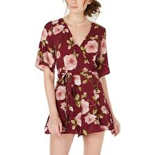 Trixxi Womens Romper Floral Belted S