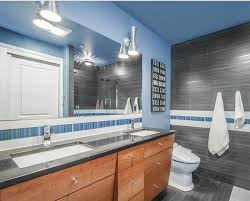 custom bathroom lighting. beautiful custom mid century modern bathroom lighting with blue wall and grey tile  floor towel throughout custom bathroom lighting