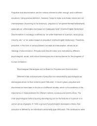prejudice and discrimination sample paper essay prejudice