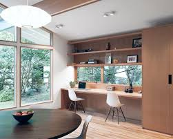 office dining room. Example Of A Small 1960s Built-in Desk Light Wood Floor Study Room Design In Office Dining
