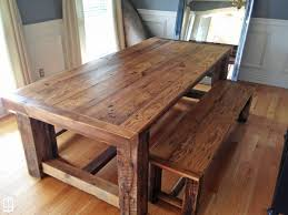 rustic kitchen table with bench. Dining Tables, Astounding Rustic Farmhouse Table Wooden With Bench Kitchen V
