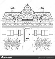 Vettore Aiuola Disegno Per Bambini Casa Di Villaggio Aiuole Con