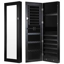 black tall high capacity over the door mirrored jewelry armoire
