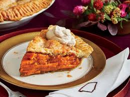 sweet potato pie slice.  Sweet Sliced Sweet Potato Pie With Molasses Whipped Cream Throughout Slice A