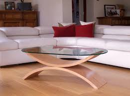 stunning curved coffee table in wood and glass