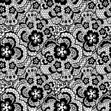 lace black seamless pattern with flowers on white background pixerstick sticker themes