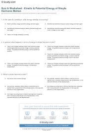 print simple harmonic motion kinetic energy potential energy worksheet