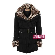 las belted padded quilted wide collar leopard fur womens winter coat 8 14 black