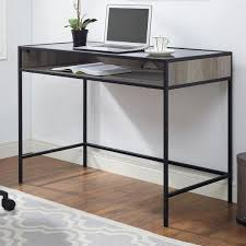 metal and wood desk with glass and shelf grey wash