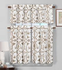 3 piece semi sheer window curtain set botanical design 2 tiers 1 valance