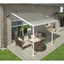 palram feria patio cover kit 20 l x 13 w clear panel white frame lot of 1