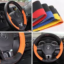 circle cool sport racing style black and orange leather steering wheel wrap cover medium 14 25 to