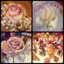 Take mod podge gloss and add 3 parts mod podge and one part water into a  dish. Hold it up so the solution runs inside the flower.