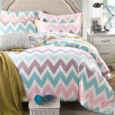 pink white blue chevron zigzag duvet cover set 4 pieces 40s tencel silk super soft bedding