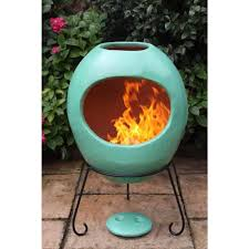 gardeco contemporary mexican ellipse clay chiminea – extra large