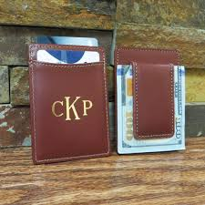 monogrammed leather wallet w money clip monogram wallet personalized groomsmen gift gifts for men brown