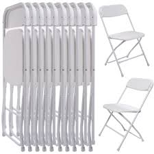 white stackable plastic chairs. (10 PACK) Commercial Wedding Quality Stackable Plastic Folding Chairs White I