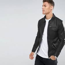 black leather jacket for men in faux leather