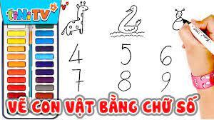Vẽ 'CON VẬT' đơn giản bằng chữ số đếm cho bé học vẽ