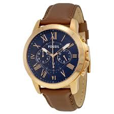 fossil watches parts accessories fossil grant chronograph blue dial brown leather mens quartz watch fs5068