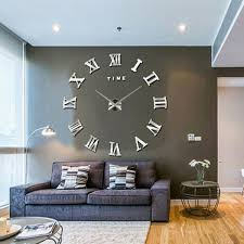 office clocks. Extra Large Decorative Wall Clocks Modern 3D Mirror DIY Clock Surface Sticker Home Office