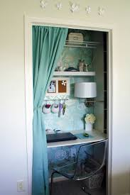 a simple curtain could hide your closet working corner when necessary built desk small home office