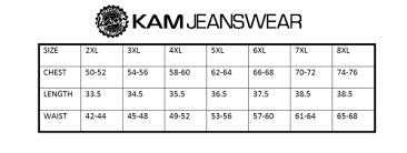 Kam Jeanswear Size Chart Large Lad Clothing