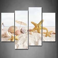 first wall art starfish little umbrella and shells on beach wall art painting the picture print on starfish wall art amazon with first wall art starfish little umbrella and shells on beach wall art