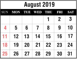 Printable Free August 2019 Blank Calendar Templates Pdf