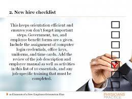 new employee orientation schedule ten elements of a new employee orientation plan physicians practice
