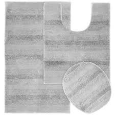 essence platinum gray 21 in x 34 in washable bathroom 3 piece rug
