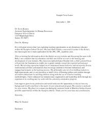 Elementary Teacher Cover Letter For Teaching Within 23 Excellent
