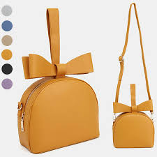 details about casual cute daily top ribbon bow handle tote shoulder cross bag faux leather