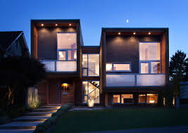 view modern house lights. Architecture: Front Yard Modern Cube House Lighting Ideas With Wood Wall Cladding Exterior Design Plus View Lights O