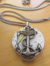 Great Vintage Nautical Chart Jewelry Anchors By