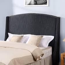 dorel living  dorel living wingback headboard with nailheads gray