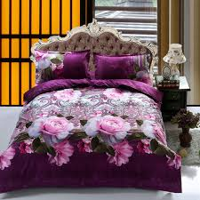 ukfit duvet cover pillowcase quilt cover bed set queen purple rose erfly