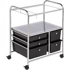 rolling office cart. Honey Can Do 5 Drawer Hanging File Rolling Cart, Chrome/black Throughout Unusual Office Cart Your Residence Design