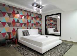 Patterned Wallpaper For Bedrooms Cozy Wallpaper Design For Bedroom With Pretty Circular Pattern