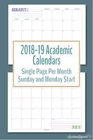 Monthly Academic Calendar Introducing The 2018 2019 Academic Calendars Scattered