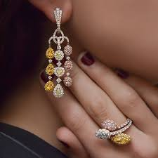fancy color diamond waterfall chandelier earrings photo 2