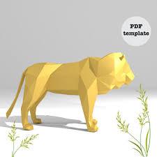 printable diy template pdf lion low poly paper model 3d animal paper sculpture origami papercraft cardboard animal