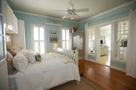 blue wall color ideas for nautical bedroom design with simple ceiling fan